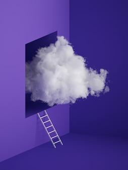 Render 3d de nube blanca y esponjosa volando por la ventana con escalera y agujero dentro de la pared