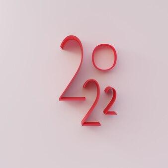 Render 3d, número feliz año nuevo 2022