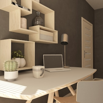 Render 3d de una oficina en casa moderna