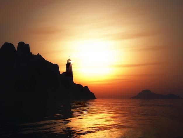 Render 3d de un paisaje con faro en la puesta del sol