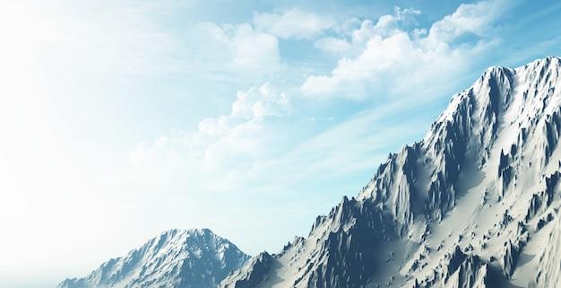 Render 3d de un paisaje de montaña cubierto de nieve