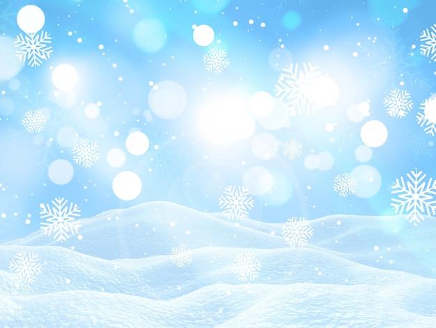 Render 3d de un paisaje navideño con copos de nieve cayendo