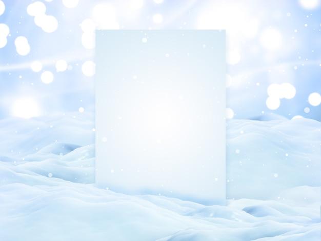 Render 3d de un paisaje nevado de navidad con tablero de pantalla en blanco