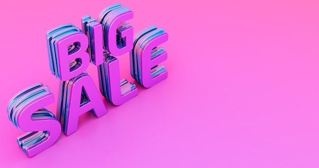 Render 3d de palabra de gran venta, texto en 3d de gran venta sobre fondo rosa