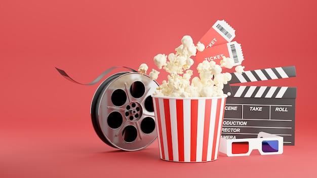 Render 3d de palomitas de maíz con tiempo de cine