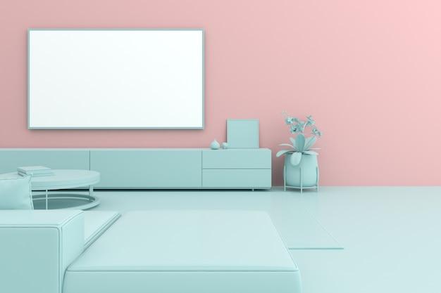 Render 3d de pantalla de tv y gabinete en pastel.