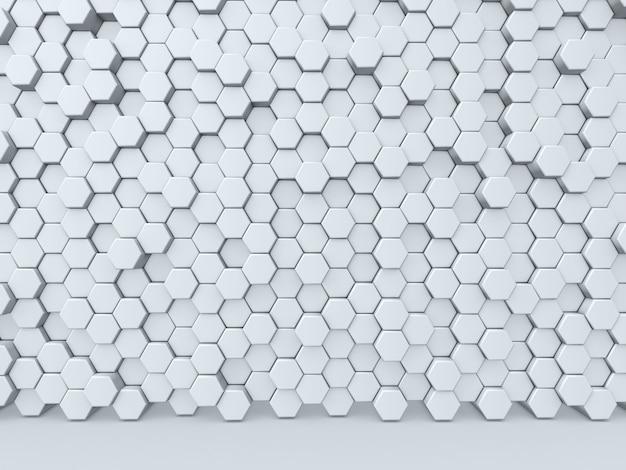Render 3d de una pared abstracta de extrusión de hexágonos