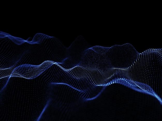 Render 3d de partículas que fluyen - diseño tecno moderno