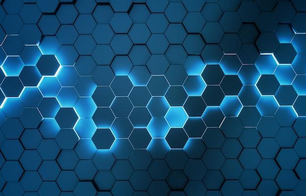 Render 3d de patrón de fondo de hexágonos azules negros