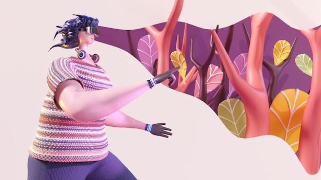 Render 3d del personaje de mujer mirando a la vista imaginaria de la naturaleza del bosque a través de gafas vr.