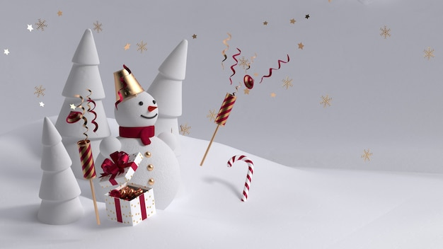 Render 3d, personaje de muñeco de nieve feliz tiene pancarta en blanco, decorada con una pila de cajas de regalo. tarjeta de felicitación de navidad sobre fondo azul menta. plantilla de invitación