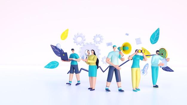 Render 3d de personas que trabajan desde diferentes elementos de negocios.