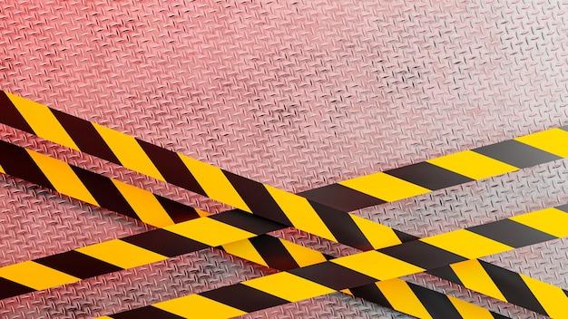 Render 3d de placa de diamante con líneas de peligro industrial para exhibición de productos
