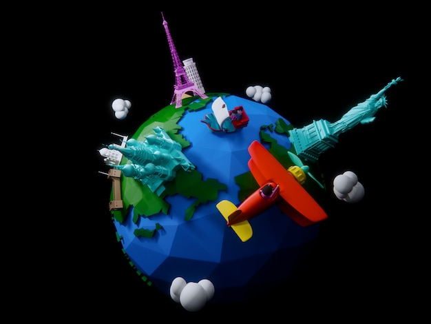 Render 3d del planeta con hitos arquitectónicos del mundo.