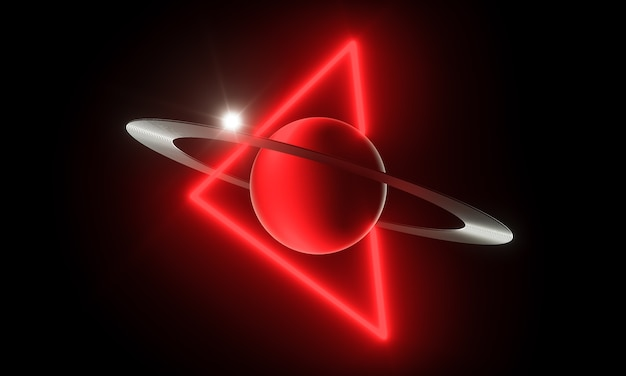 Render 3d. planeta luminoso y brillante con anillo y triángulo láser en el espacio exterior. concepto de ciencia ficción.