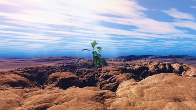 Render 3d de una planta joven creciendo en una tierra seca y agrietada