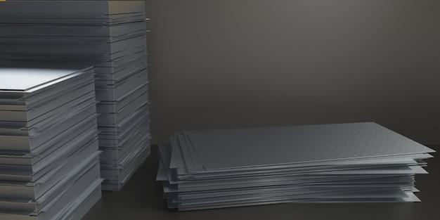 Render 3d plataforma para diseño, soporte de producto en blanco, chapa de acero.