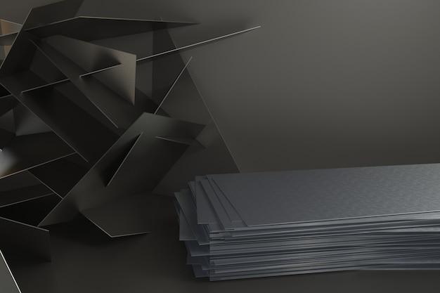 Render 3d plataforma para diseño, stand de producto en blanco.