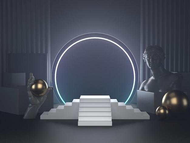 Render 3d de podio blanco en luces futuristas y escultura clásica