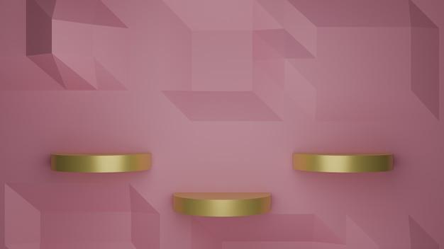 Render 3d del podio de escaparate dorado sobre fondo rosa pastel imagen abstracta