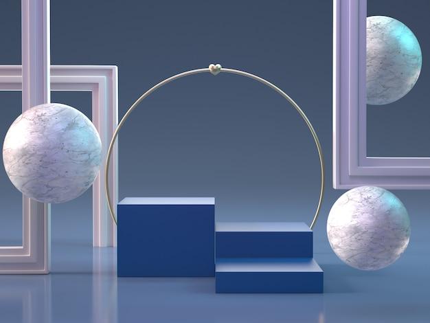 Render 3d de podio con esferas y marcos