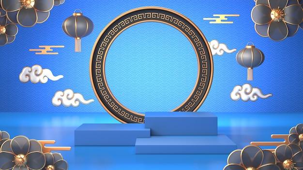 Render 3d de podio geométrico azul y decoración china