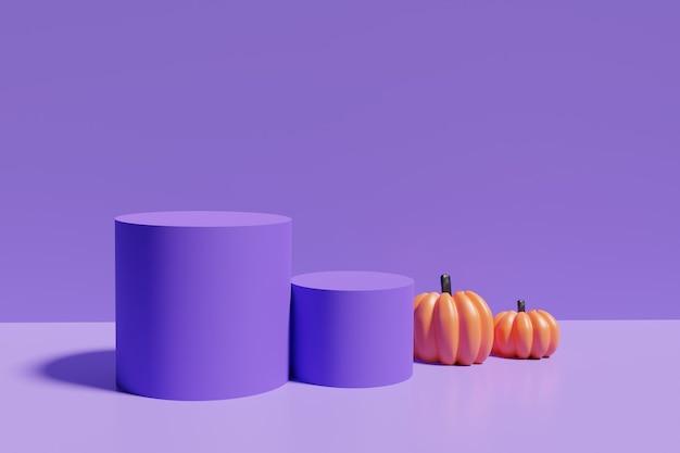Render 3d de podios morados con calabazas naranjas sobre un fondo morado para el proyecto de halloween