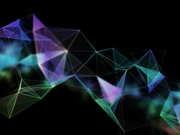 Render 3d de una red de comunicaciones con líneas y puntos de conexión