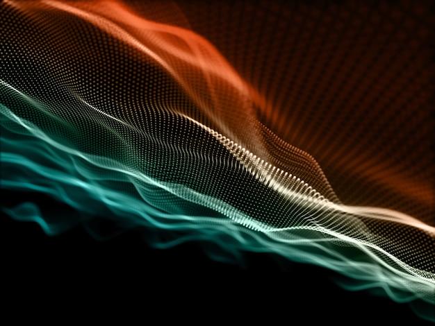 Render 3d de una red de comunicaciones con partículas cibernéticas que fluyen