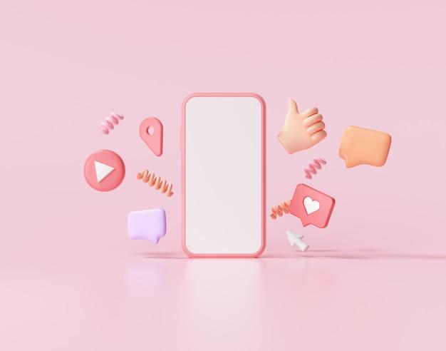 Render 3d de redes sociales con marco de fotos, como botón y formas geométricas en la ilustración rosa.