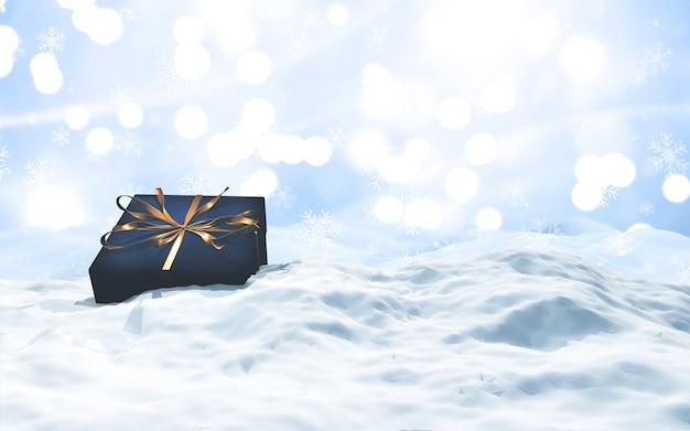 Render 3d de un regalo de lujo en paisaje nevado de navidad
