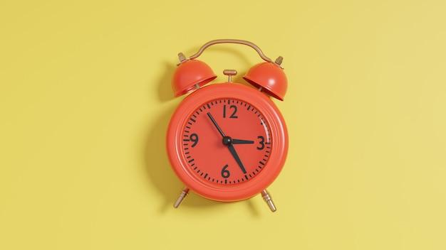 Render 3d de reloj despertador rojo sobre fondo amarillo