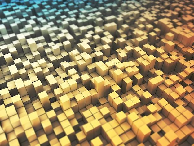 Render 3d de un resumen con bloques de extrusión