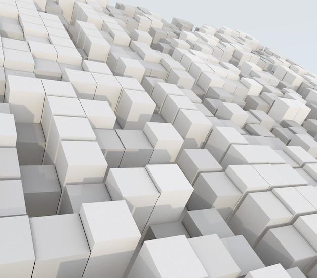 Render 3d de un resumen de la extrusión de cubos