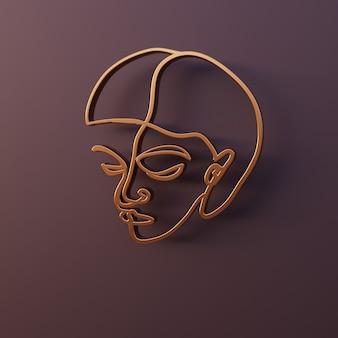 Render 3d retrato de mujer abstracta mínima perfil de rostro femenino hecho de alambre dorado arte lineal simple