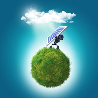 Render 3d de un robot que sostiene un panel solar en una glboe cubierta de hierba