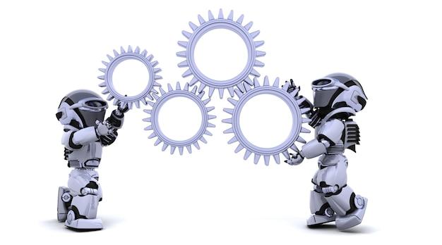 Render 3d de robots con ruedas de transmisión