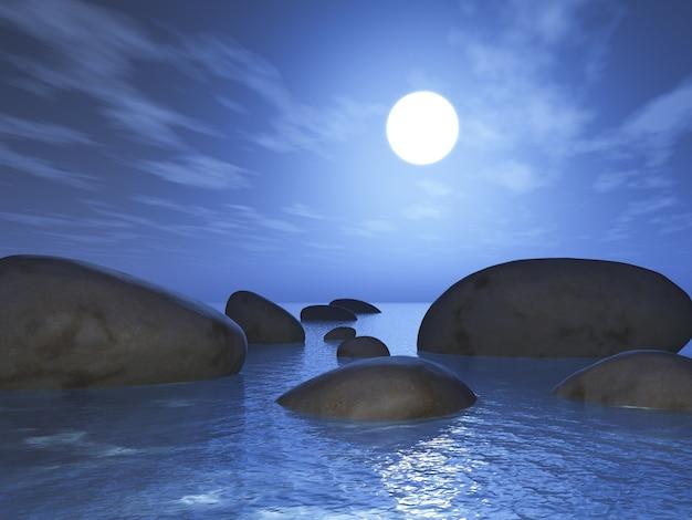Render 3d de rocas en el océano contra el cielo del atardecer