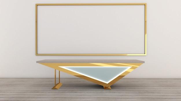 Render 3d de la sala de estar interior, maqueta, oficina y escritorio