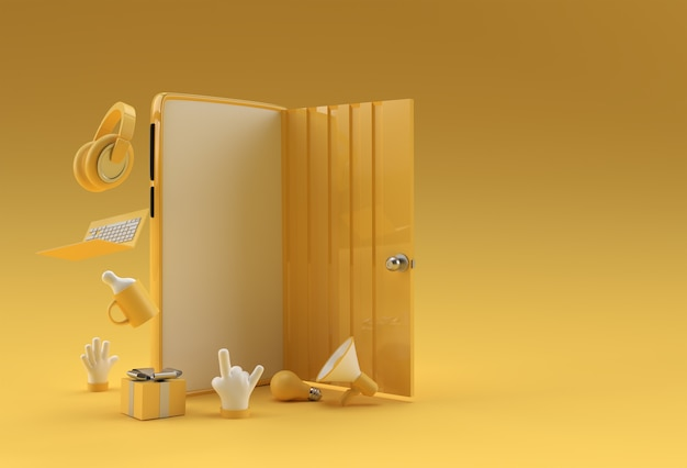 Render 3d símbolo de puerta abierta de nueva carrera, oportunidades, emprendimientos e iniciativa. diseño de concepto de negocio.