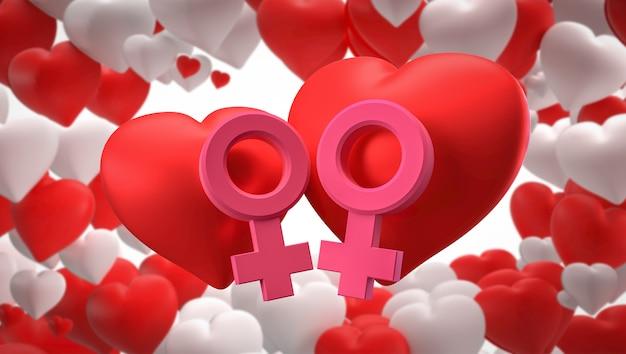 Render 3d símbolos de corazón, género masculino y femenino