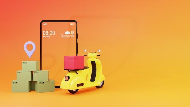 Render 3d de smartphone, cajas con icono de ubicación y scooter amarillo y fondo naranja