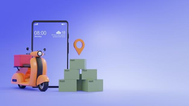 Render 3d de smartphone, cajas con icono de ubicación y scooter naranja y fondo morado