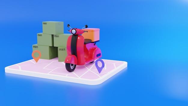 Render 3d de smartphone, cajas con icono de ubicación y scooter rojo y fondo azul