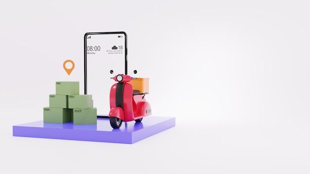 Render 3d de smartphone, cajas con icono de ubicación y scooter rojo y fondo blanco.