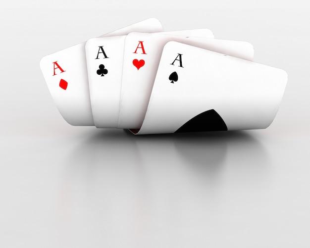 Render 3d de tarjetas de juego de cuatro ases