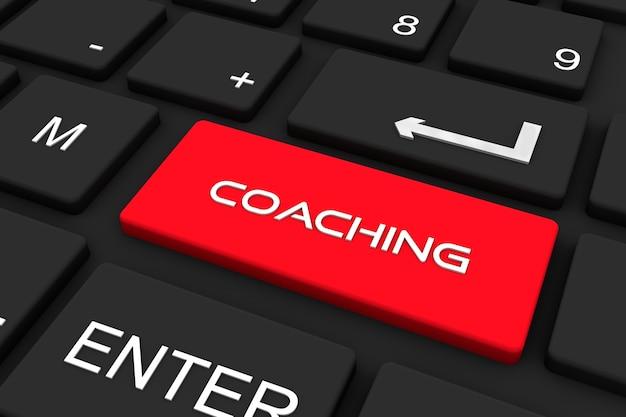 Render 3d. teclado negro con tecla de coaching, fondo de concepto de negocio y tecnología