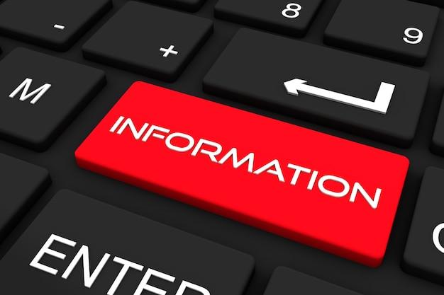 Render 3d. teclado negro con tecla de información, fondo de concepto de negocio y tecnología