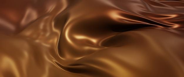 Render 3d de tela de seda marrón o café. lámina holográfica iridiscente. fondo de moda de arte abstracto.