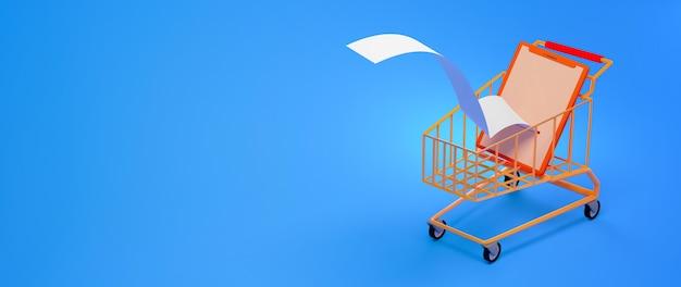 Render 3d de teléfono inteligente en un carrito de compras aislado en banner de fondo azul